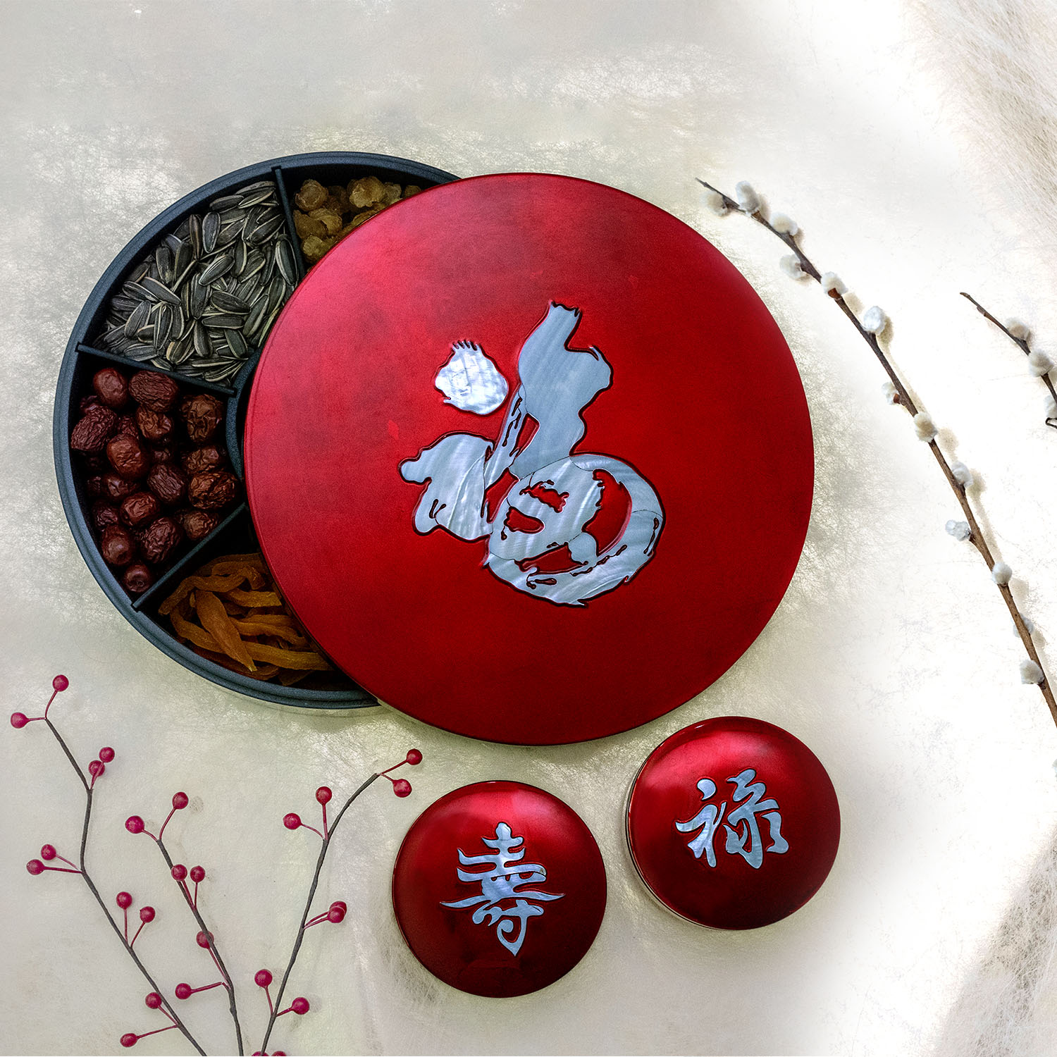 Eight Treasures Box inlaid with Fu (Prosperity) mother of pearl filled up auspicious new year goodies and snacks; also, Lu (wealth) and shou (longevity) on smaller trinket boxes