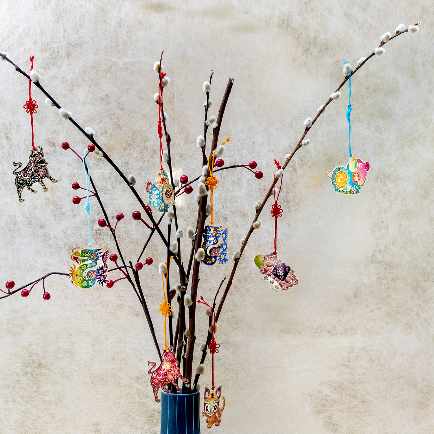 Zodiac Decorative Hanging and Charms on chinese new year pussy willow